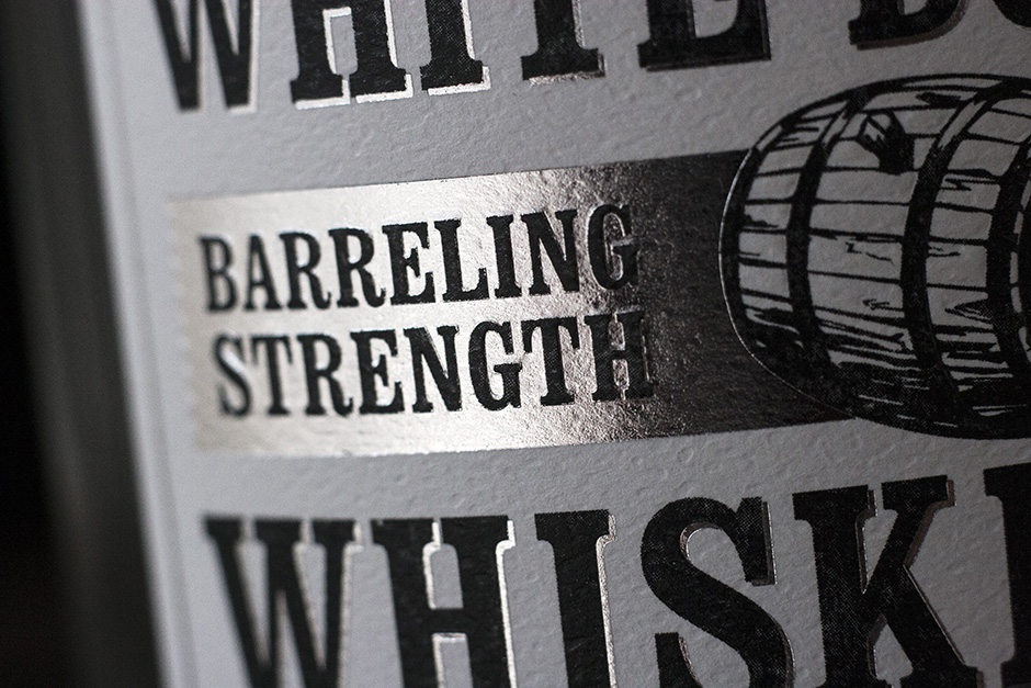 white whiskey label