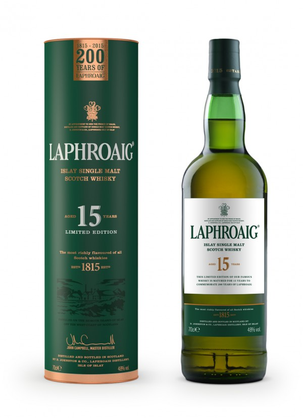 Laphroaig 200-Year Anniversary, 15-year Scotch Whisky packaging 2015