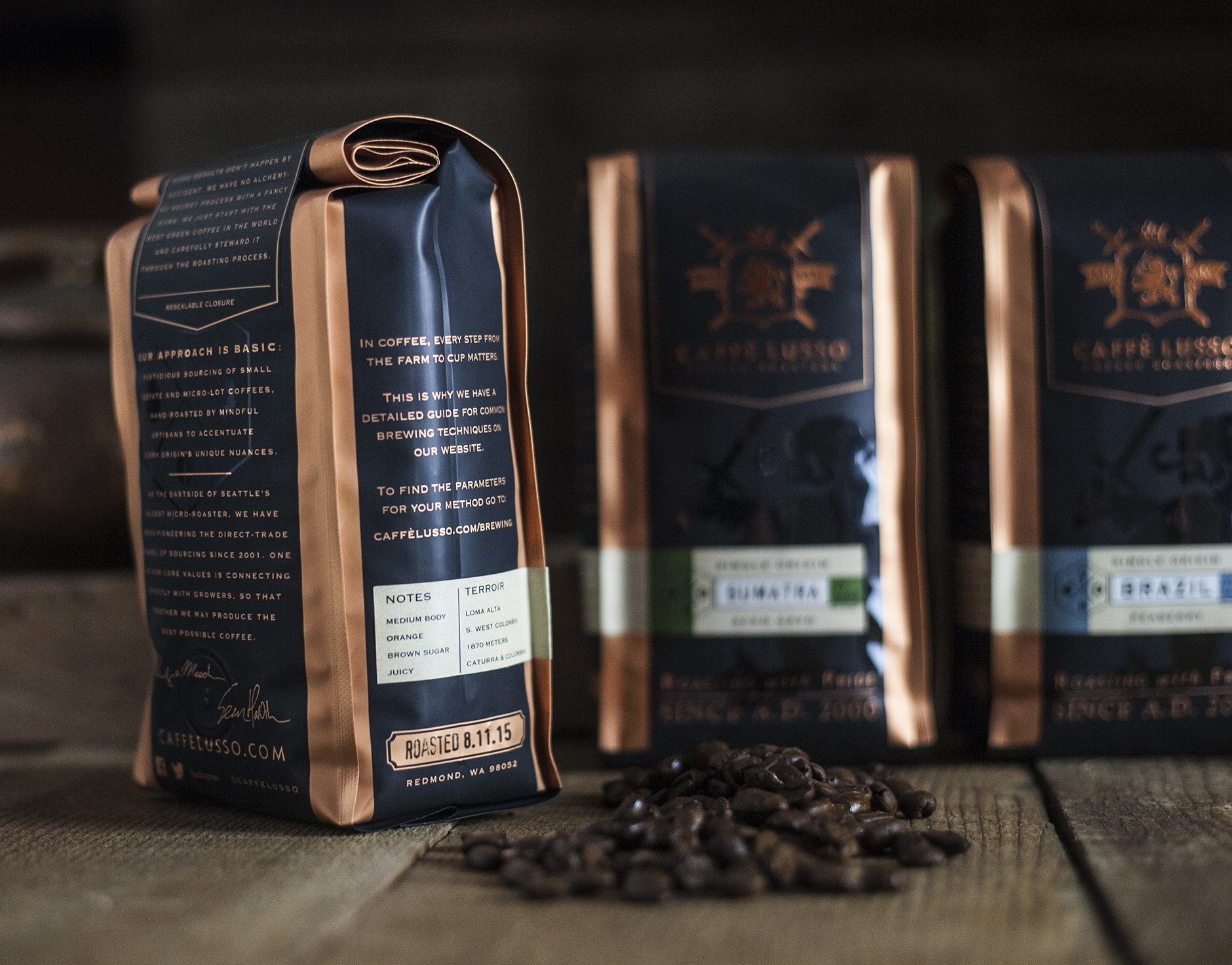 Caff 233 Lusso Coffee Roasters Brand Amp Packaging David Cole